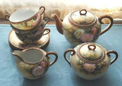 Antique Tea Set, Nippon, Tori, Pot, Sugar,creamer, 4 Cups, 4 Saucers, Pre -1921