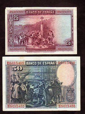 1928 Spain 25 50 Pesetas Lot 2 Vintage Paper Money Antique Banknote Currency Old
