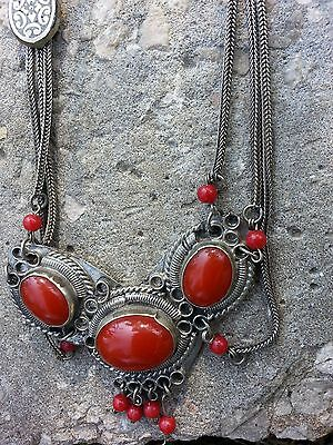 Vintage Silver ARAB Yemeni Bedouin ORNAMENTAL Layered NECKLACE Amulet Red Stone