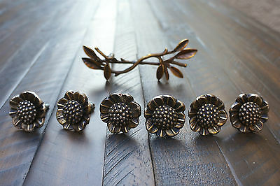 Lot of 7 Anthropologie brass hardware flower knob branch twig handle drawer pull