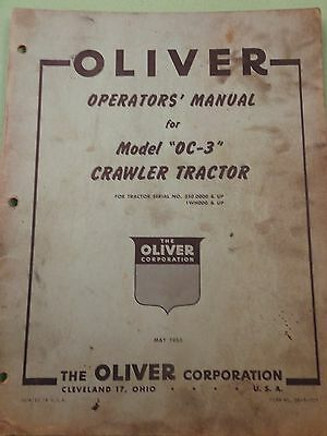 Oliver OC-3 Crawler Operator's Manual