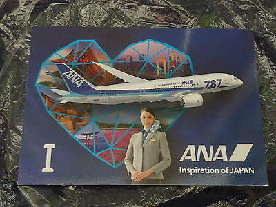 "Airline Issue Postcard ANA All Nippon Airways B 787 ""I love ANA"""