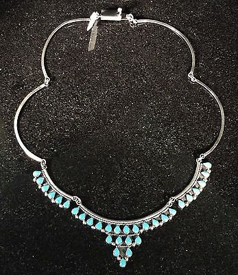 Vintage Mexican Sterling Silver And Turquoise Link Necklace .925 Mexico