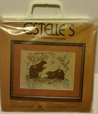 """ESTELLES CREWEL EMBROIDERY KIT """"BEAVERS"""" VINTAGE AND BRAND NEW cross stitch craf"""