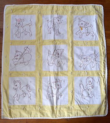VINTAGE 1950s BABY QUILT YELLOW & WHITE COTTON 9 BABY ANIMALS CUTE!