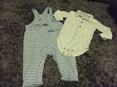 Next Baby Boys Dungarees Outfit 9-12 Cars , Traffic, Pale Blue &along Sleeve Top