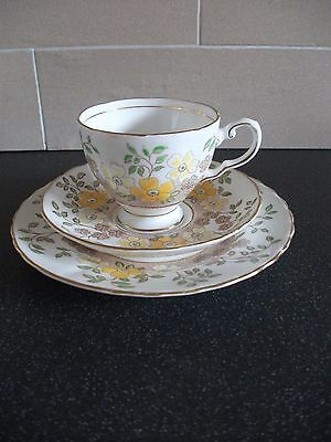 Vintage Tuscan Hand Painted  Floral Trio Tea Cup &Saucer Side Plate