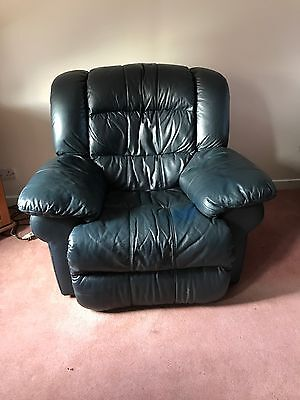 Luxurious Leather Blue Electric Recliner Chair