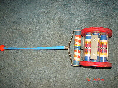 RARE Vintage 1950s Fisher Price Push/Pull Toy Chime Roller No. 123