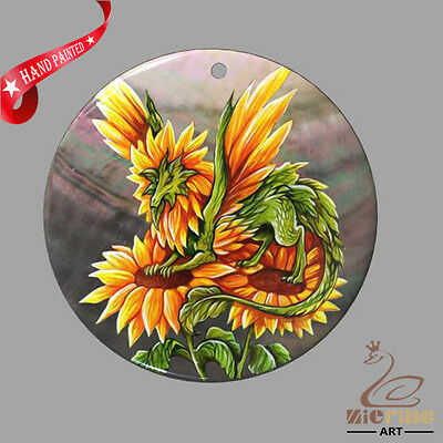 FASHION NECKLACE HAND PAINTED Dream Dragon SHELL PENDANT ZP30 01119