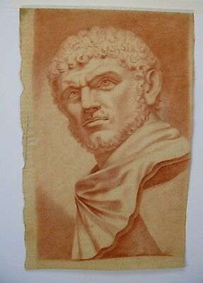 Antique Original Drawing of Man's Head in Brown Chalk