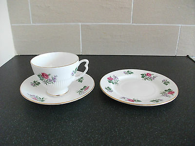 Vintage Colclough Bone China Pink Roses Trio Cup And Saucer  Tea Plate