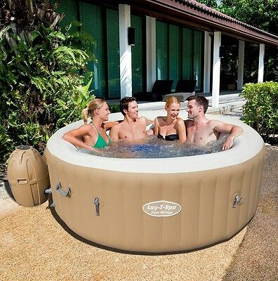 NEW Bestway Lay-Z-Spa Palm Springs Round Inflatable Hot Tub 4-6 Person - Brown