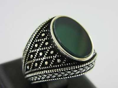 Turkish Handmade Ottoman Style 925 Sterling Silver Agate Men's Size 8.5