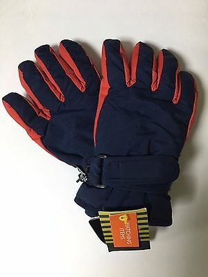 John Lewis Brand New Thinsulate Kids Ski Gloves Blue & Red Size Large With Tags