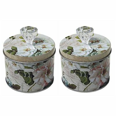 Set Of 2 Small Vintage Metal Shabby Old Fashioned Rose Tins Canisters