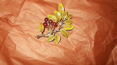 Cherries and leaves Brooch - three inches long