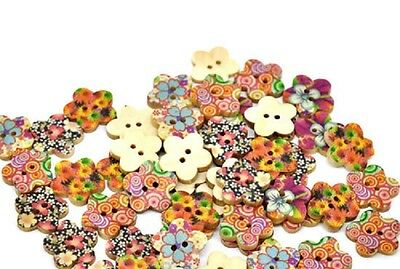 "17mm 3936 Lot of 20 FLOWER 2-hole White Wood Buttons 11//16/"" Scrapbook Craft"