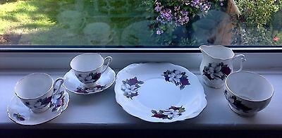Queen Anne china vtg Tea for two cup saucer plate Bread Butter Plate Milk Sugar