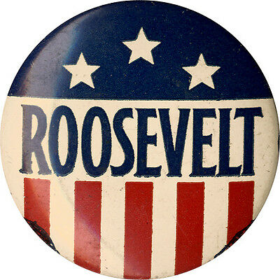 1940 Campaign Franklin ROOSEVELT Stars-and-Stripes Button (4880)