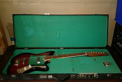 Vintage Teisco Style electric guitar & case with built-in amp. FREE SHIPPING!