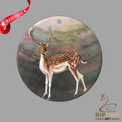 Fashion Necklace Hand Painted Deer Shell Pendant Zp30 01115