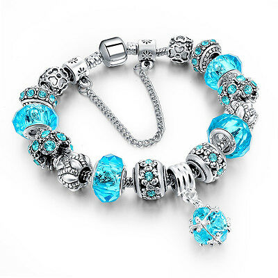 925 Silver Plated Crystal Charm Bracelet Charms Jewelry Gift Fashion Jewellery