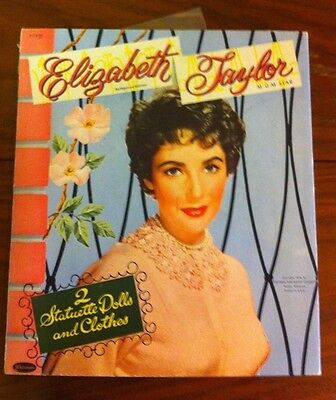 Elizabeth Taylor 1954 Vintage Celebrity Paper Doll Cut Outs & Folder