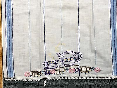 Antique Hand Embroidered Tea/Dish Towel w/ Crocheted Edges