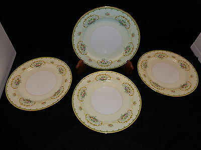 "Noritake DIANA 10"" DINNER PLATES Lot x 4 Yellow W/ Floral Design & Gold Trim"