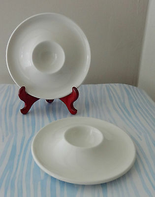 2 Adams White Egg Cups With Spoon Rest