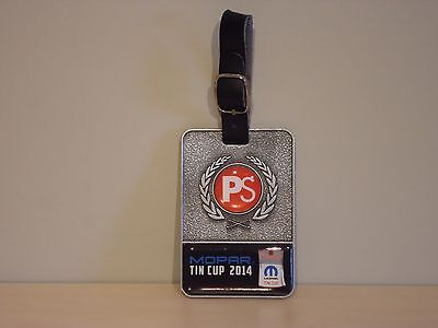 "Mopar 2014 Golf Tournament ""Tin Cup"" Metal Golf Bag Tag with Leather Strap"