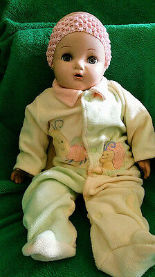 Antique Bisque Head Baby Doll Blinking Eyes Eyelashes Teeth Needs Repairs