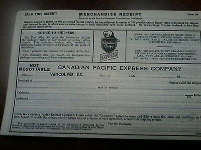 Canadian Pacfic Express Merchandise Receipts 1950s unused