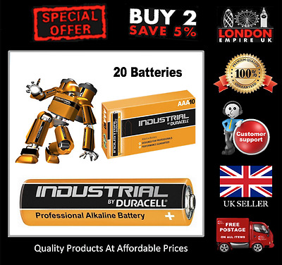 20 Pack Duracell AAA Industrial Procell Batteries Alkaline MN2400 LR03 NEW