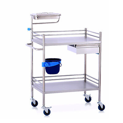 Two Layers Drawer Serving Medical Dental Lab Cart Trolley UC913 Stainless Steel