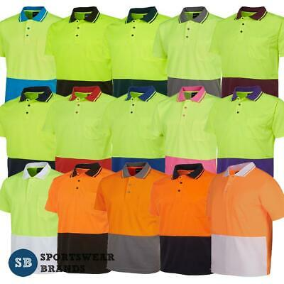 Adults Mens Hi Vis Non Cuff Polo Shirt Top Work Size XS - 9XL Contrast New 6HVNC