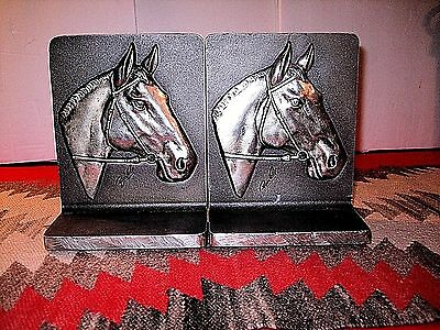 Vtg Pair Signed Bruce Fox Wrought Metal Horse Head Bookends Hd Finished & Worked