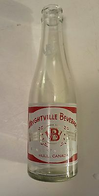 """Rare Canadian (Hull, Quebec) """"wrightville Beverage"""" 7 Oz  Red/white Acl-Style #1"""