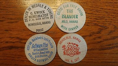 4 Hawaii Wooden Nickels Lot  DC