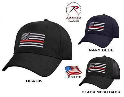 Support Firefighter Thin Red Line Flag Cap Low Profile Hat Baseball Fire Dept.