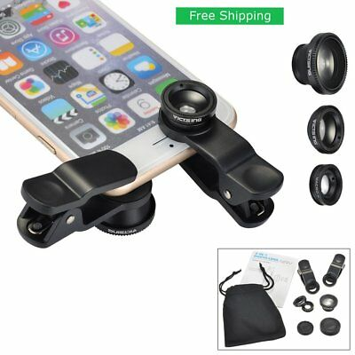 3 in 1 Clip On Fish Eye+Wide Angle+Macro Lens Camera Kit for iPhone 6 6S Plus 5