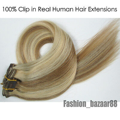 Best Quality~15inch Clip in Remy 100% Real Human Hair Extensions 7Pc/Set #12/613