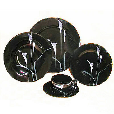 OPUS BLACK Mikasa 5 Piece Place Setting NEW NEVER USED Made in Japan FK 701