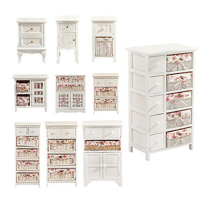 BN White Chic Bedside Table Cabinet Chest of Drawers Wicker Basket Storage Unit