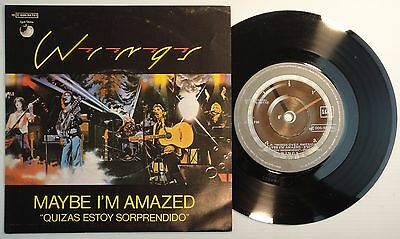 "7"" WINGS – Maybe I'm Amazed 45 Spain PROMO  – MINT * 1977 UNIQUE COVER BEATLES"