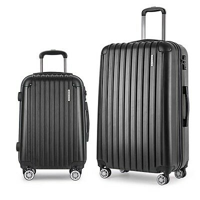 Set of 2 Hard Shell Travel Luggage with TSA Lock - Black