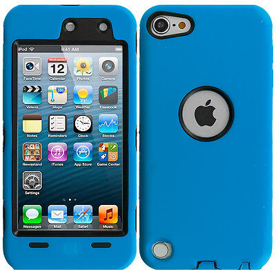 For iPod Touch 6th Gen 6G Hybrid Case Cover+Built in Screen Protector Blue