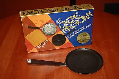 Vintage 1975 Popeil Crepe Magician Stove Top Teflon Coated Pan Set Original Box