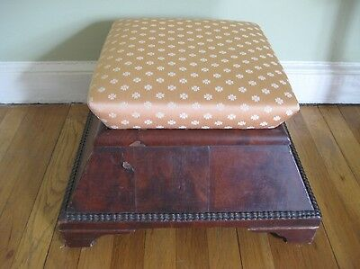 Early Victorian  Late Empire Antique Upholstered Ottoman  Burled Mahogany